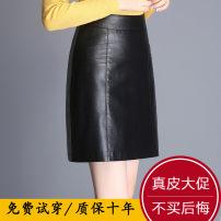 skirt Spring 2021 26,27,28,29,30,31,32,33 black Short skirt commute High waist A-line skirt Solid color Type A 3-1759 More than 95% Sheepskin Sheepskin Pleats, pockets, tridimensional decoration Korean version