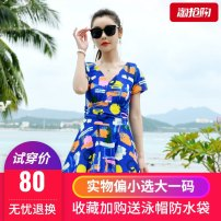 one piece  Wallert L,XL,4XL,5XL,2XL,3XL Orange, bird, flower leaf, helixing coconut, huazhiqiao (black), 03 blue and white bar, 03 Tibetan blue and white flower, 03 black and white flower, 03 black and white flower Skirt one piece With chest pad without steel support Spandex, nylon female