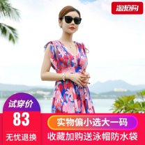 Split swimsuit Wallert Huaxuan pink steel, Huaxuan orange steel, 25 black orange, 25 blue orange XL,2XL,3XL,4XL,5XL Skirt split swimsuit Steel strap breast pad Spandex, polyester, others female
