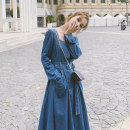 Dress Autumn 2020 blue S,M,L Mid length dress singleton  Long sleeves commute square neck High waist Solid color Single breasted A-line skirt routine Others 18-24 years old Type A Korean version Pocket, lace up, button More than 95%
