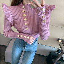 Wool knitwear Autumn 2020 Average size White, black, pink purple Long sleeves singleton  Socket Viscose 31% (inclusive) - 50% (inclusive) Super short routine commute Self cultivation Half height crew neck routine Solid color Socket 25-29 years old Button