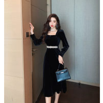 Dress Spring 2021 black S,M,L,XL,2XL Miniskirt singleton  Long sleeves commute High waist Solid color zipper Big swing bishop sleeve 25-29 years old Other / other lady Diamond inlay 91% (inclusive) - 95% (inclusive)
