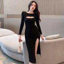 Dress Autumn 2020 Pink, green, black S,M,L Miniskirt Long sleeves routine cotton