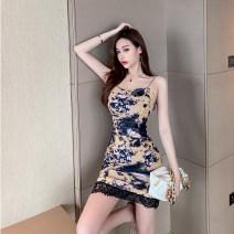 Dress Summer 2021 Picture color S,M,L Short skirt singleton  Sleeveless commute V-neck High waist other Socket One pace skirt routine 25-29 years old Korean version tie-dyed polyester fiber