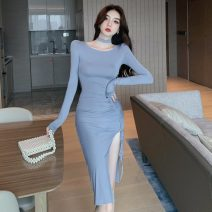 Dress Spring 2021 Pink, haze blue S,M,L longuette singleton  Long sleeves commute Crew neck High waist Solid color Socket One pace skirt routine Others 25-29 years old Type H Other / other Korean version Pleating 51% (inclusive) - 70% (inclusive) brocade polyester fiber