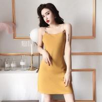 Dress Summer of 2019 Ginger, red, black S, M Short skirt singleton  commute High waist Solid color Socket A-line skirt camisole Other / other Korean version brocade nylon