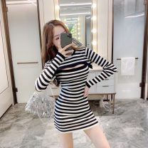 Dress Spring 2021 Black, white stripe Average size Middle-skirt Two piece set Long sleeves commute High waist Socket One pace skirt 18-24 years old Retro Hollowing out