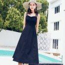 Dress Summer of 2018 Black, orange S,M,L,XL,2XL Miniskirt singleton  One word collar High waist Solid color zipper Big swing camisole Other / other