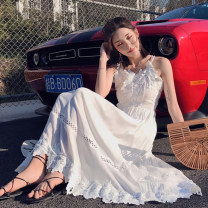 Dress Summer of 2019 white S,M,L,XL longuette singleton  Sleeveless commute other middle-waisted Solid color Socket other other camisole 18-24 years old Type A tpny Korean version Hollowing out 81% (inclusive) - 90% (inclusive) other polyester fiber