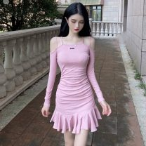 Dress Winter 2020 Pink, black S,M,L,XL Short skirt singleton  Long sleeves commute High waist Solid color Socket Ruffle Skirt 18-24 years old Type X lady Lotus leaf edge 31% (inclusive) - 50% (inclusive) brocade cotton