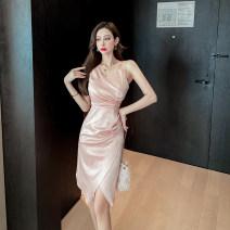 Dress Spring 2021 Apricot powder S,M,L singleton  Sweet V-neck Decor
