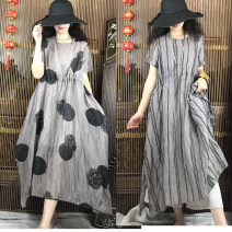 Dress Summer of 2019 Big wave point, big wave point (with sling), water plant flower, water plant flower (with sling) Average size Mid length dress singleton  Short sleeve commute Crew neck Loose waist Dot Socket Big swing routine Hanging neck style Type A literature printing More than 95% hemp