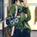 shirt green Average size Winter of 2019 wool 96% and above Long sleeves Original design Regular Crew neck Socket Bat sleeve Broken flowers