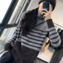 shirt grey Average size Winter of 2019 wool 96% and above Long sleeves Original design Regular High collar Socket routine stripe