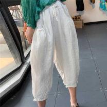Casual pants Green, pink, Burgundy, caramel Average size Summer 2020 Ninth pants Haren pants High waist Versatile Thin money 96% and above Q68590 hemp hemp