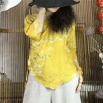 shirt Yellow flowers with yellow background Average size Summer of 2019 hemp 96% and above three quarter sleeve Original design Regular V-neck Frenulum routine Broken flowers hemp