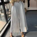 Casual pants Average size Summer 2020 Ninth pants Wide leg pants High waist commute routine 96% and above hemp Retro hemp