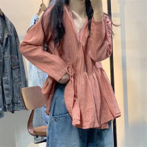 shirt Blue, orange, orange, fine grid Average size Autumn of 2019 hemp 96% and above Long sleeves Original design Regular V-neck Frenulum routine lattice SN6329 hemp