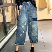 Casual pants blue M, L Spring 2020 Ninth pants Straight pants High waist commute routine 96% and above Q99933 cotton literature cotton