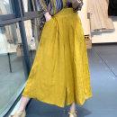 Casual pants Yellow, green, hemp Average size Summer 2020 Ninth pants Wide leg pants High waist original routine 96% and above SN7220 hemp hemp