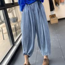 Casual pants Light blue, dark blue Average size Summer 2020 trousers Haren pants High waist original Thin money 96% and above cotton cotton