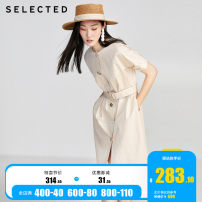 Dress Summer 2020 155/76A/XS 160/80A/S 165/84A/M 170/88A/L 175/92A/XL Mid length dress Short sleeve commute Crew neck High waist Solid color Single breasted A-line skirt Bat sleeve 25-29 years old Type A Selected / Slyder Retro Stitching buttons More than 95% cotton Cotton 100%