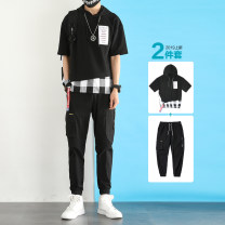 T-shirt Youth fashion Dx023 white dx023 black gzk018 black + dx023 white gzk018 black + dx023 black gzk018 gray + dx023 white thin M L XL 2XL 3XL Damoson Short sleeve Hood standard daily summer DMR018 Cotton 100% teenagers Off shoulder sleeve tide Knitted fabric Summer of 2019 lattice Assembly