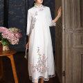 cheongsam Spring 2020 XXL,S,M,L,XL White, orange three quarter sleeve long cheongsam Retro Low slit daily Embroidery