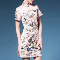 Dress Summer 2020 S,M,L,XL,2XL,3XL Short skirt singleton  Short sleeve commute stand collar middle-waisted other zipper other Others ethnic style Embroidery, zipper 51% (inclusive) - 70% (inclusive) Silk and satin