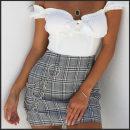 skirt Summer of 2018 S,M,L White lattice Versatile Natural waist lattice Type A Zipper, chain