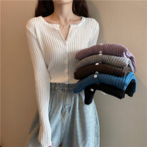 Wool knitwear Spring 2021 Average size Brown, sapphire blue, gray, white, black, taro purple Long sleeves singleton  Cardigan other 30% and below Regular routine commute Self cultivation V-neck routine Solid color Single breasted Korean version 18-24 years old Button