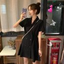 Dress Summer 2021 black S,M,L Short skirt singleton  Short sleeve commute tailored collar High waist Solid color double-breasted routine 18-24 years old Type A Other / other Korean version 31% (inclusive) - 50% (inclusive)