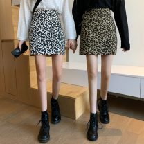 skirt Autumn 2021 S,M,L Khaki, black Short skirt commute High waist A-line skirt Leopard Print Type A 18-24 years old 31% (inclusive) - 50% (inclusive) other Other / other zipper Korean version