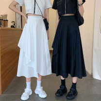 skirt Summer 2021 S,M,L White, black Mid length dress commute High waist Irregular Solid color Type A 18-24 years old 31% (inclusive) - 50% (inclusive) other Other / other other fold Korean version