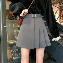 skirt Spring 2021 S,M,L Grey (belt), black (belt) Short skirt commute High waist A-line skirt Solid color Type A 18-24 years old 31% (inclusive) - 50% (inclusive) other Other / other other Asymmetry Korean version