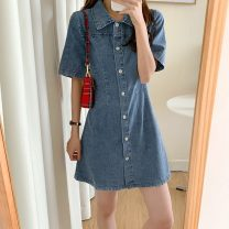 Dress Summer 2021 blue S,M,L Short skirt singleton  Short sleeve commute Polo collar High waist Solid color Single breasted A-line skirt routine 18-24 years old Type A Other / other Korean version 31% (inclusive) - 50% (inclusive)
