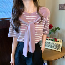 T-shirt Apricot, black, pink purple Average size Summer 2021 Short sleeve Crew neck easy Regular routine commute other 31% (inclusive) - 50% (inclusive) 18-24 years old Korean version Thick horizontal stripe Other / other