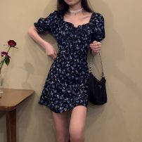 Dress Spring 2021 Picture color S,M,L Short skirt singleton  Short sleeve commute square neck High waist Broken flowers Socket A-line skirt puff sleeve Others 18-24 years old Type A Other / other Korean version Ruffles, lace up, print 31% (inclusive) - 50% (inclusive) other other