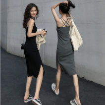 Dress Summer 2021 Gray, black Average size Mid length dress singleton  Sleeveless commute Crew neck High waist Solid color Socket other other camisole 18-24 years old Type A Other / other Korean version 31% (inclusive) - 50% (inclusive) other