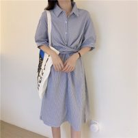 Dress Summer 2021 Blue stripe, black stripe Average size Mid length dress singleton  Short sleeve commute Polo collar Loose waist stripe Single breasted routine 18-24 years old Type A Other / other Korean version 31% (inclusive) - 50% (inclusive)