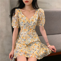 Dress Summer 2021 Temperament yellow S, M Middle-skirt singleton  Short sleeve commute High waist Decor Socket other other Others 18-24 years old Type A Other / other Korean version 31% (inclusive) - 50% (inclusive) other