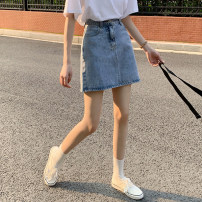 skirt Summer 2021 S,M,L blue Short skirt commute High waist A-line skirt Solid color 18-24 years old Korean version