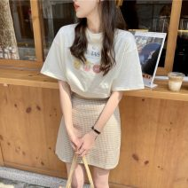 Fashion suit Summer 2021 S. M, average size White T-shirt, apricot T-shirt, black skirt, apricot skirt 18-25 years old Other / other 31% (inclusive) - 50% (inclusive)