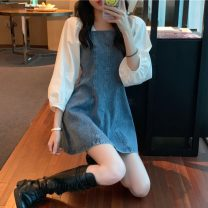 Dress Spring 2021 Denim skirt 6200 S,M,L Middle-skirt singleton  Long sleeves commute square neck High waist Solid color Socket A-line skirt other Others 18-24 years old Type A Other / other Korean version 31% (inclusive) - 50% (inclusive) other other