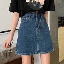 skirt Summer 2021 S,M,L Light blue, dark blue Short skirt commute High waist A-line skirt Solid color Type A 18-24 years old 31% (inclusive) - 50% (inclusive) Other / other Korean version
