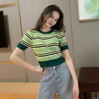 T-shirt Avocado Green Average size Summer 2021 Short sleeve Crew neck Straight cylinder Regular routine commute other 31% (inclusive) - 50% (inclusive) 18-24 years old Korean version youth Other / other