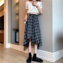 skirt Summer 2021 S,M,L Black, check Mid length dress commute High waist Irregular lattice Type A 18-24 years old 31% (inclusive) - 50% (inclusive) other Other / other other Korean version