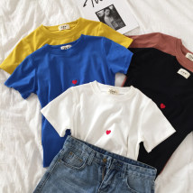 T-shirt White yellow blue black brown Average size Summer of 2018 Short sleeve Crew neck easy Regular routine commute cotton 51% (inclusive) - 70% (inclusive) 18-24 years old Korean version youth Geometric pattern Other / other Embroidery