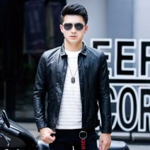 leather clothing Others Youth fashion Black, green 8111, black 8111 M,L,XL,2XL,3XL have cash less than that is registered in the accounts Imitation leather clothes Lapel Slim fit zipper autumn leisure time youth tide Wk leather 363 Digging bags with lids No iron treatment