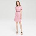 Dress Summer 2020 Pink, Navy S,M,L,XL,2XL Short skirt Short sleeve commute V-neck High waist zipper routine Type A Britain Lace